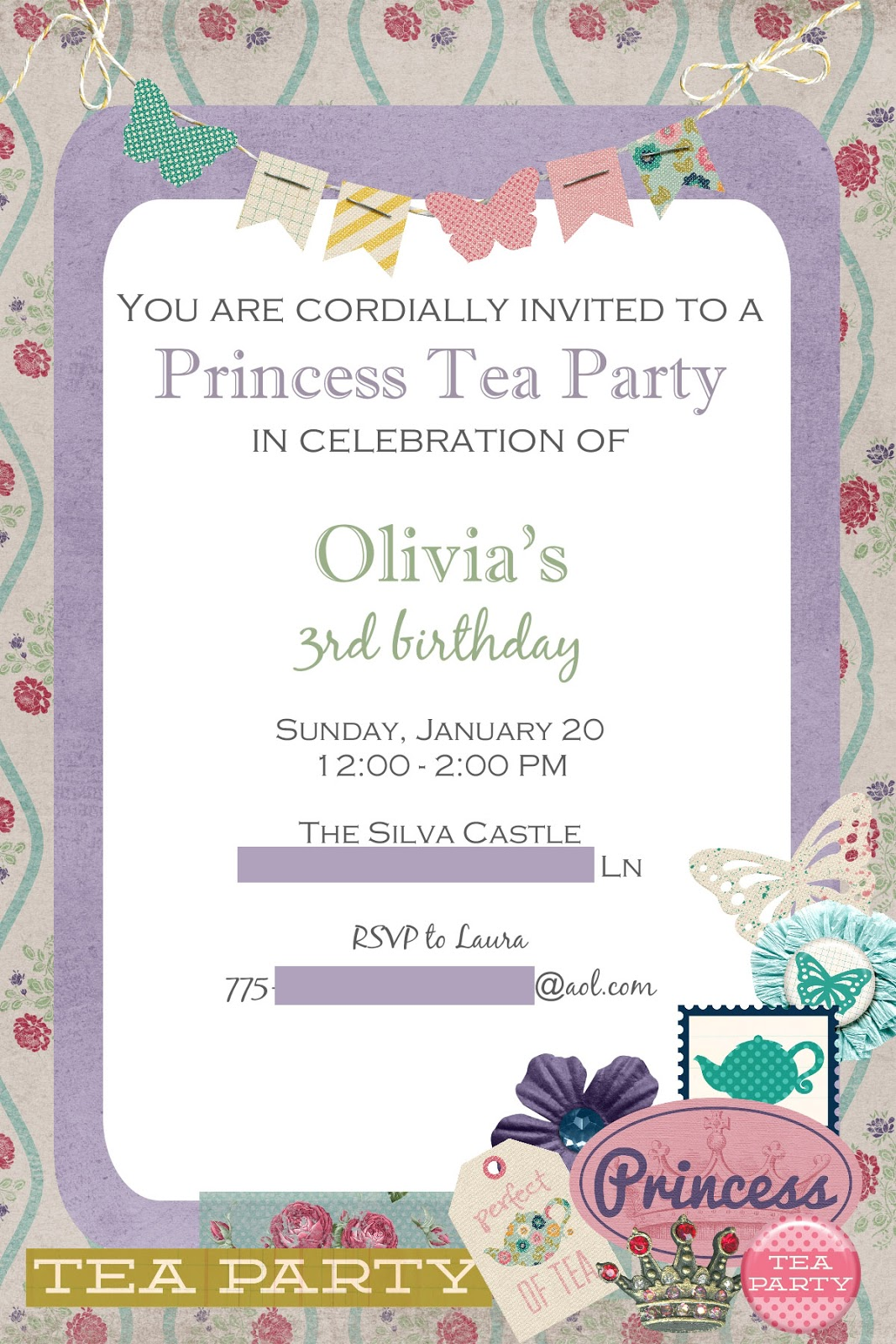 Princess Tea Party Lauras Crafty Life – Tea Party Invitations for Kids
