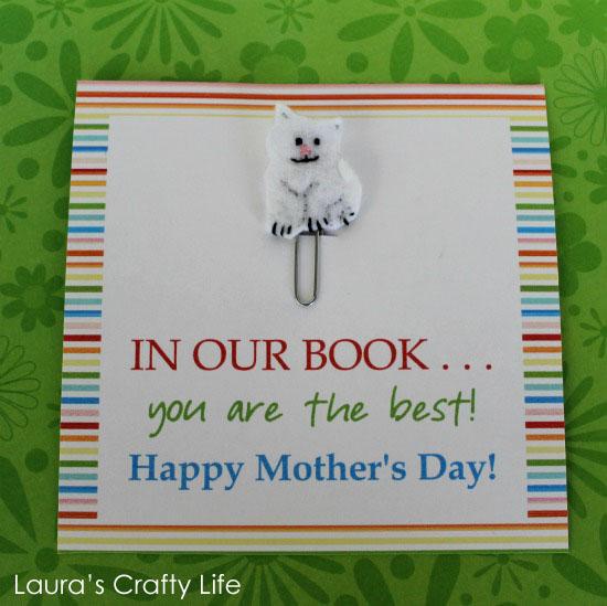 Mother's Day felt cat bookmark present