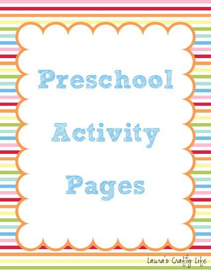 preschool and kindergarten activity pages - Work Pages For Kindergarten